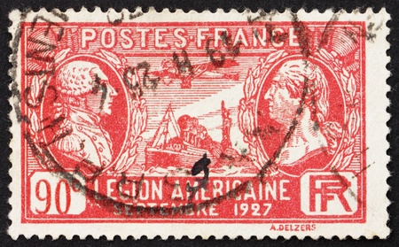 FRANCE - CIRCA 1927: a stamp printed in the France shows Lafayette, Washington, S.S. Paris and Airplane Spirit of St. Louis, American Legionnaires, circa 1927