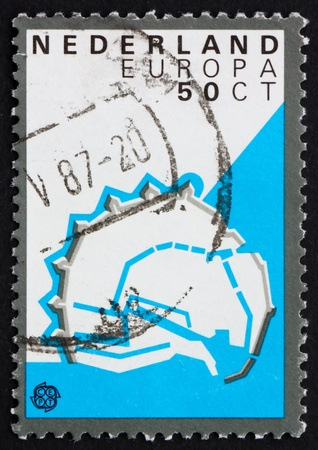 NETHERLANDS - CIRCA 1982: a stamp printed in the Netherlands shows Enkhuizen, Fortification Layout, 1590, circa 1982 Stock Photo - 12504082