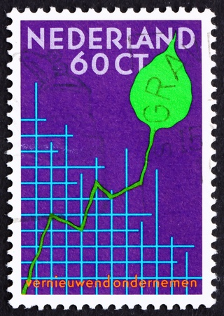NETHERLANDS - CIRCA 1984: a stamp printed in the Netherlands shows Graph and Leaf, International Small Business Congress, Amsterdam, circa 1984 Stock Photo - 12504104