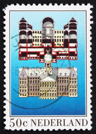 NETHERLANDS - CIRCA 1983: a stamp printed in the Netherlands shows Facade Cross-section, Royal Palace, Dam Square, Amsterdam, circa 1983 Stock Photo - 12504094