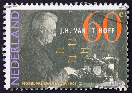 NETHERLANDS - CIRCA 1991: a stamp printed in the Netherlands shows Jacobus H. Van�t Hoff, Dutch Nobel Prize Winner in Chemistry, circa 1991