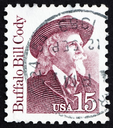 cody: UNITED STATES OF AMERICA - CIRCA 1988: a stamp printed in the United States of America shows Buffalo Bill Cody, US Soldier and Bison Hunter, circa 1988