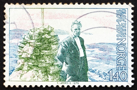 novelist: NORWAY - CIRCA 1976: a stamp printed in the Norway shows Olav Duun, novelist, circa 1976