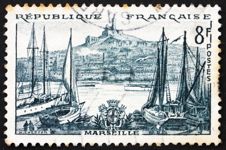 FRANCE - CIRCA 1955: a stamp printed in the France shows Marseille, France, circa 1955 photo