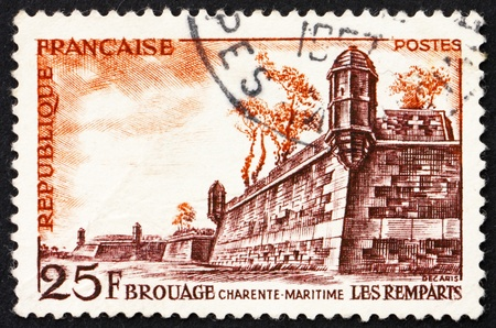 FRANCE - CIRCA 1955: a stamp printed in the France shows Fortifications, Brouage, circa 1955 photo