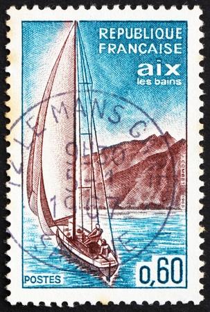 FRANCE - CIRCA 1965: a stamp printed in the France shows Sailboat, Aix-les-Bains, circa 1965 Stock Photo - 12504179