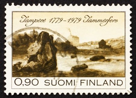 FINLAND - CIRCA 1979: a stamp printed in the Finland shows View of Tampere, 1779, Bicentenary of Founding of Tampere, circa 1979 photo