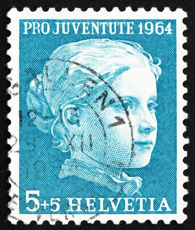 helvetia: SWITZERLAND - CIRCA 1964: a stamp printed in the Switzerland shows Portrait of a Girl by Albert Anker, circa 1964