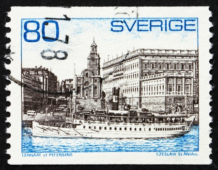SWEDEN - CIRCA 1971: a stamp printed in the Sweden shows Steamer Storskar and Royal Palace, Stockholm, circa 1971 photo