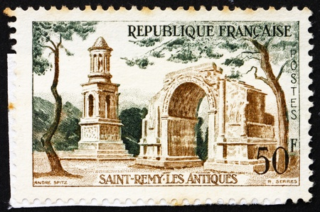 FRANCE - CIRCA 1957: a stamp printed in the France shows Roman Ruins, Saint-Remy, France, circa 1957 photo