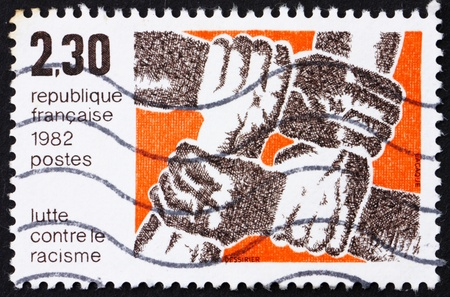 FRANCE - CIRCA 1982: a stamp printed in the France shows Fight against Racism, circa 1982 Stock Photo - 12504450