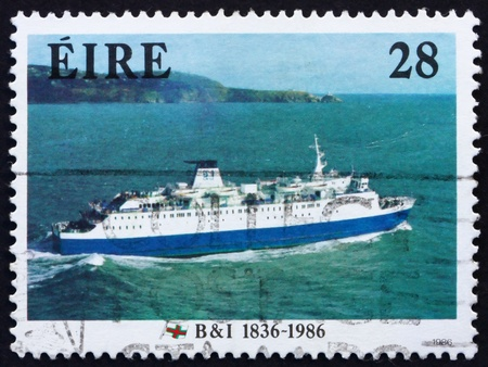 leinster: IRELAND - CIRCA 1986: a stamp printed in the Ireland shows M. V. Leinster, 1986, 150th Anniversary of British & Irish Steam Packet Co., circa 1986