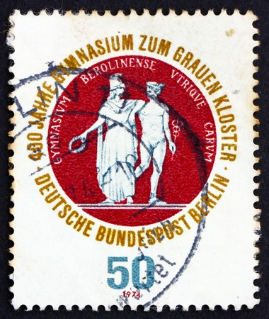 post secondary schools: GERMANY - CIRCA 1974: a stamp printed in the Germany, Berlin shows School Seal Showing Athena and Hermes, 400th Anniversary of the Gray Brothers� School, a Secondary Franciscian School, circa 1974 Stock Photo