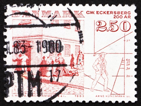 c a w: DENMARK - CIRCA 1983: a stamp printed in the Denmark shows Street Scene by C. W. Eckersberg, circa 1983 Stock Photo