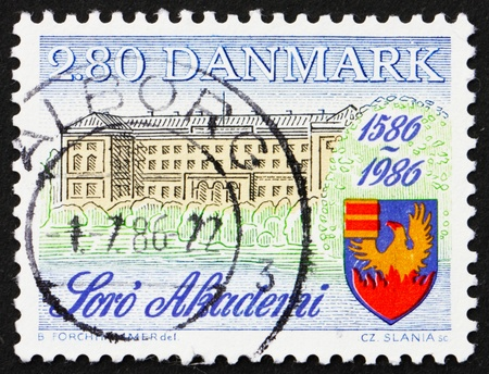 DENMARK - CIRCA 1986: a stamp printed in the Denmark shows Soro Academy, 400th Anniversary, circa 1986 Stock Photo - 12840017