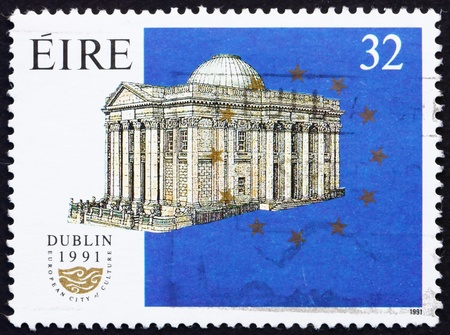 IRELAND - CIRCA 1991: a stamp printed in the Ireland shows Dublin City Hall, European City of Culture, circa 1991 photo