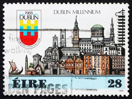 IRELAND - CIRCA 1988: a stamp printed in the Ireland shows Town of Dublin, Millennium, circa 1988 Stock Photo - 12847939