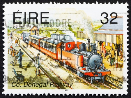 narrow gauge: IRELAND - CIRCA 1995: a stamp printed in the Ireland shows Co. Donegal Railway, Narrow Gauge Railways, circa 1995