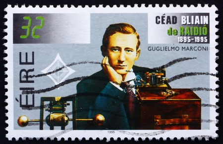 IRELAND - CIRCA 1995: a stamp printed in the Ireland shows Guglielmo Marconi, Transmitting Equipment, Centenary of Radio, circa 1995 Stock Photo - 12559630