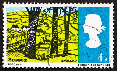 hassock: GREAT BRITAIN - CIRCA 1966: a stamp printed in the Great Britain shows Landscape near Hassock, Sussex, circa 1966