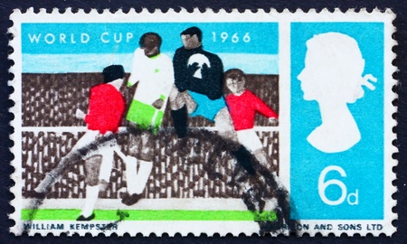 wembley: GREAT BRITAIN - CIRCA 1966: a stamp printed in the Great Britain shows Soccer Players and Crowd, World Soccer Championship 1966, Wembley, circa 1966
