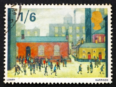 lowry: GREAT BRITAIN - CIRCA 1967: a stamp printed in the Great Britain shows Children Coming out of the School, Painting by Laurence Stephen Lowry, circa 1967