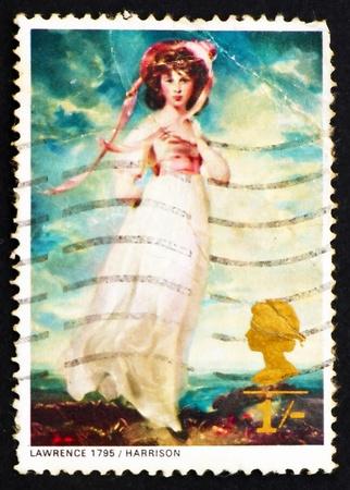 dedo me�ique: GRAN BRETA�A - CIRCA 1968: un sello impreso en la Gran Breta�a muestra Pinkie, la se�orita Sara Moulton-Barrett, por Sir Thomas Lawrence, alrededor del a�o 1968