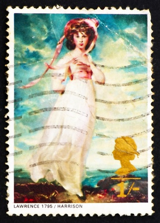 pinkie: GREAT BRITAIN - CIRCA 1968: a stamp printed in the Great Britain shows Pinkie, Miss Sarah Moulton-Barrett, by Sir Thomas Lawrence, circa 1968