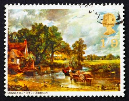 great britain: GRANDE-BRETAGNE - CIRCA 1968: un timbre imprim� dans la Grande-Bretagne montre La cal�che de foin, de John Constable, circa 1968