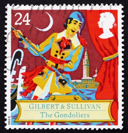 gilbert: GREAT BRITAIN - CIRCA 1992: a stamp printed in the Great Britain shows Scene from comic opera, The Gondoliers by Gilbert and Sullivan, circa 1992