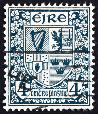 leinster: IRELAND - CIRCA 1923: a stamp printed in the Ireland shows Coat of Arms of the Four Provinces of Ireland, circa 1923