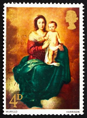 murillo: GREAT BRITAIN - CIRCA 1968: a stamp printed in the Great Britain shows Madonna and Child, by Murillo, circa 1968