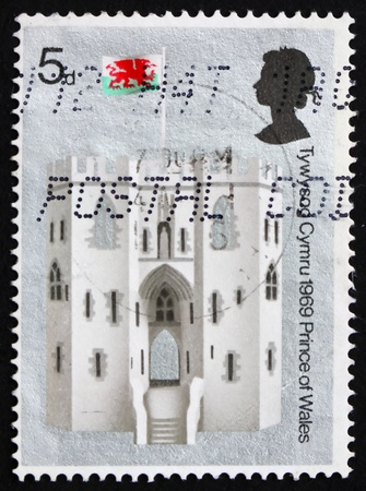 GREAT BRITAIN - CIRCA 1969: a stamp printed in the Great Britain shows King's Gate, Caernarvon Castle, Wales, circa 1969 Stock Photo - 12847386