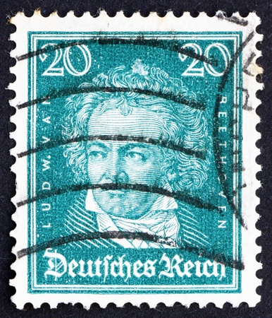 beethoven: GERMANY - CIRCA 1926: a stamp printed in the Germany shows Ludwig van Beethoven, Composer, circa 1926