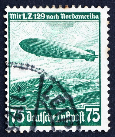hindenburg: GERMANY - CIRCA 1936: a stamp printed in the Germany shows Hindenburg, Airship, circa 1936