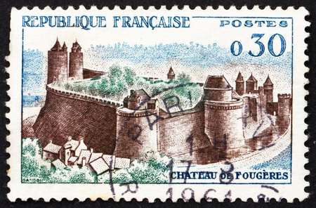 FRANCE - CIRCA 1960: a stamp printed in the France shows Chateau Fougeres, France, circa 1960 Stock Photo - 12847332