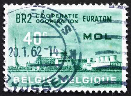 atomic center: BELGIUM - CIRCA 1961: a stamp printed in the Belgium shows Atomic Reactor Plant, BR2, Mol, Atomic Nuclear Research Center at Mol, Belgium, circa 1961