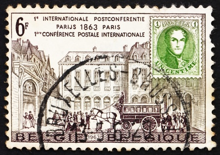 postes: BELGIUM - CIRCA 1963: a stamp printed in the Belgium shows Hotel des Postes, Paris, Stagecoach and Stamp, 1863, Postal Conference, circa 1963