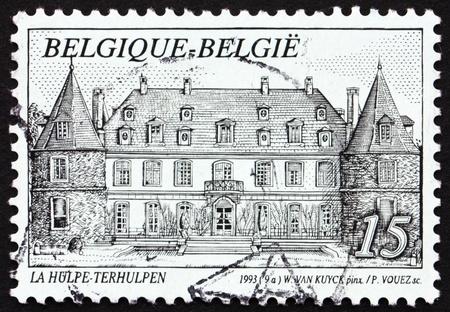 BELGIUM - CIRCA 1993: a stamp printed in the Belgium shows Castle Solvay, La Hulpe, Belgium, circa 1993 Stock Photo - 12847136