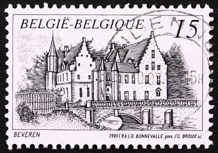 BELGIUM - CIRCA 1993: a stamp printed in the Belgium shows Castle Cortewalle, Beveren, Belgium, circa 1993 Stock Photo - 12847125