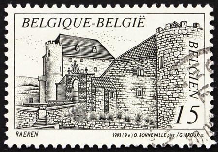 BELGIUM - CIRCA 1993: a stamp printed in the Belgium shows Castle Raeren, Belgium, circa 1993 photo