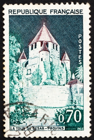 FRANCE - CIRCA 1964: a stamp printed in the France shows Caesar's Tower, Provins, France, circa 1964 Stock Photo - 12847140