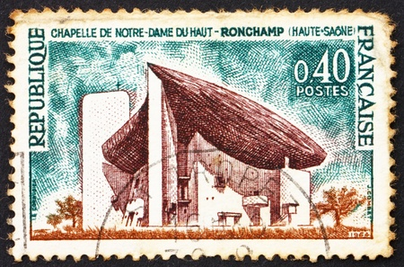 haut: FRANCE - CIRCA 1965: a stamp printed in the France shows Chapel of Notre Dame du Haut, Ronchamp, France, circa 1965