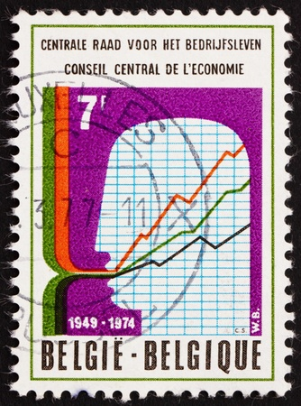 BELGIUM - CIRCA 1974: a stamp printed in the Belgium shows Symbolic Chart, Man�s Head, 25th Anniversary of Central Economic Council, circa 1974 Stock Photo - 12846832