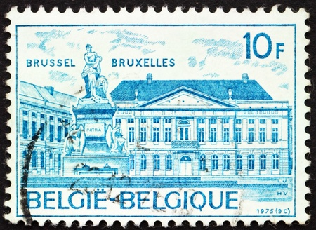 BELGIUM - CIRCA 1975: a stamp printed in the Belgium shows Martyrs Square, Brussels, circa 1975 Stock Photo - 12846848