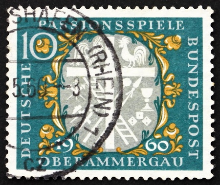 passion play: GERMANY - CIRCA 1960: a stamp printed in the Germany shows Symbols of Christ�s Sufferings, Passion Play, Oberammergau, Bavaria, circa 1960