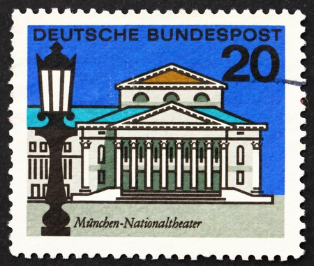 GERMANY - CIRCA 1964: a stamp printed in the Germany shows National Theater, Munich, circa 1964 Stock Photo - 12846853