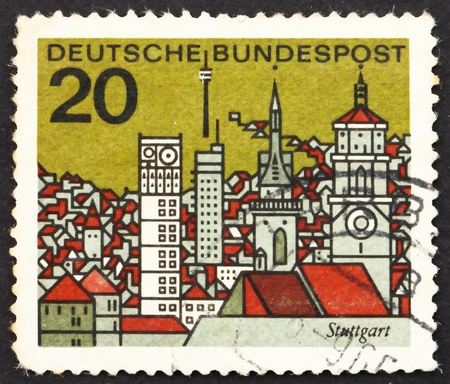 GERMANY - CIRCA 1965: a stamp printed in the Germany shows View of Stuttgart, Germany, circa 1965 Stock Photo - 12846855