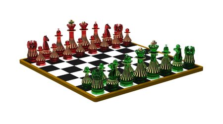 Set of chess figures on the chessboard, ready for playing, 3d render photo