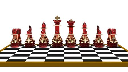 Set of chess figures on the chessboard, 3d render photo